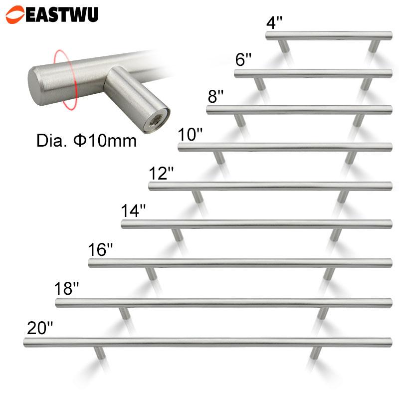 Diameter 10mm Stainless Steel Kitchen Door Cupboard Cabinet T Bar Handle  Pull Knob 2u0026quot; ~