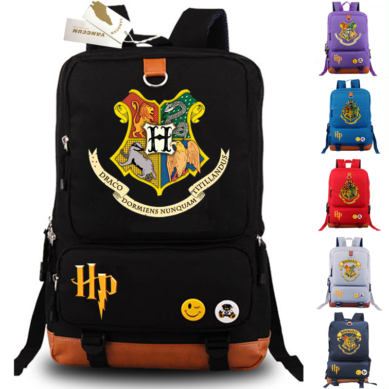 New Movie HP Backpack School Bags Cosplay Gryffindor Hufflepuff Laptop Shoulder Travel Bags Unisex Bookbags Gift