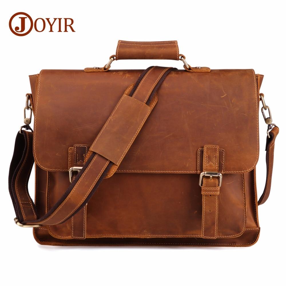 JOYIR Crazy Horse Genuine Leather Men Briefcase Casual Messenger Laptop Bag Business Men Briefcase Bag For Document Shoulder Bag