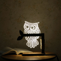 3D Acrylic Owl Nightlight Visual Led Night Lights For Home Bedside Night Light For Child Gift