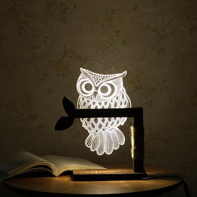 3D акрил Сова Ночная визуальный индикатор ночные огни для дома прикроватная ночник для детского подарка USB настольная лампа ночник IY801129