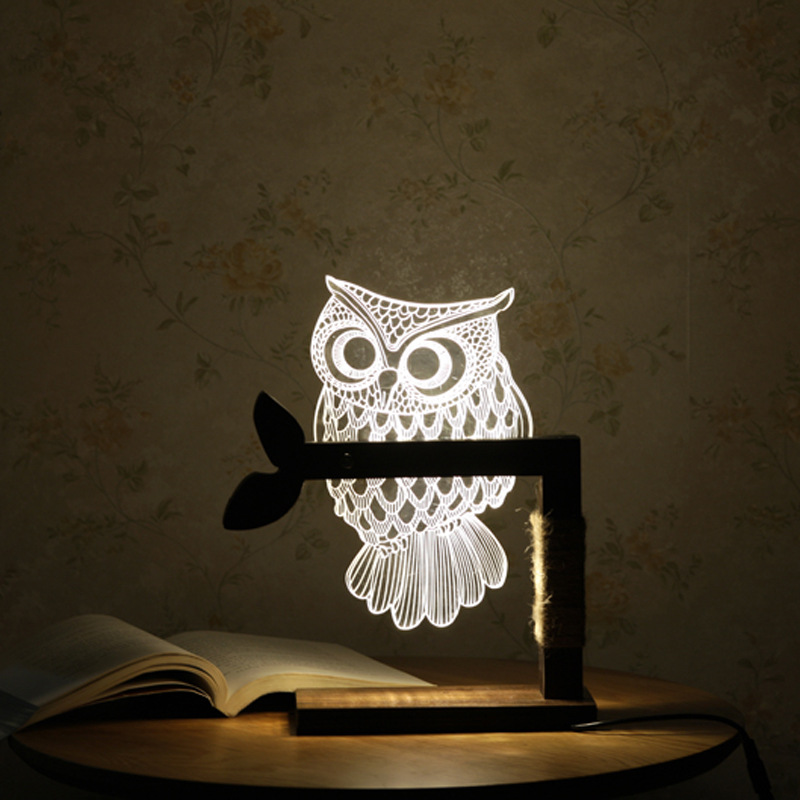 LED De Madeira Coruja 3D Visual Nightlight Led Night Lights para Casa de Mesa USB Lâmpada de Mesa luz Da Noite para o Presente da Criança nightlight IY804001