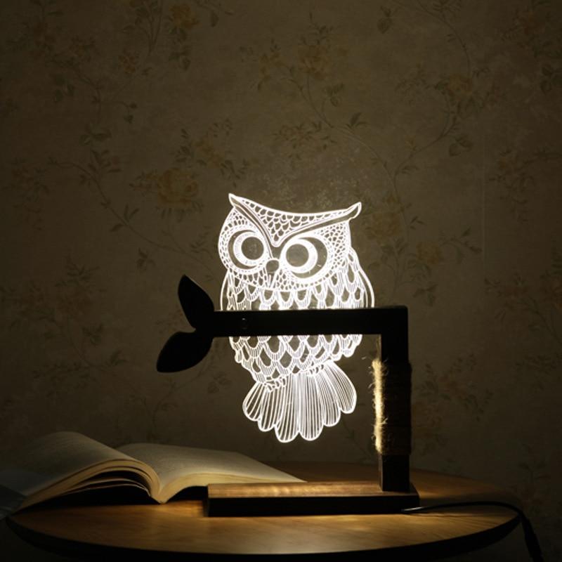 LED Wooden Owl 3D Nightlight Visual Led Night Lights for Home Desk Night light for Child Gift USB Table Lamp Nightlight IY804001