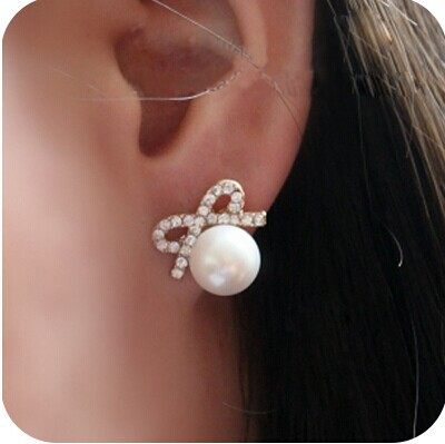 Drop Shipping Vintage Crystal Bow Pearl Earrings Explosion Models E2189 8g In Stud From Jewelry Accessories On Aliexpress Alibaba Group