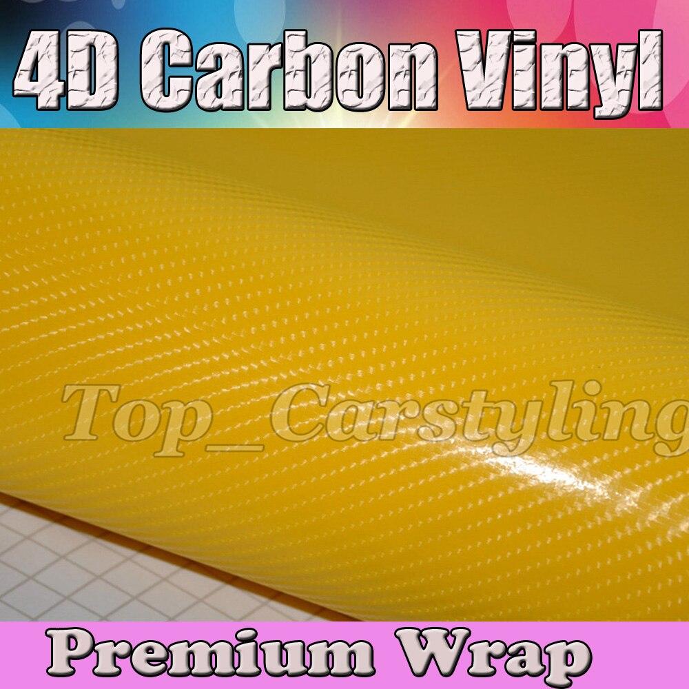 Hornet jaune 4D carbone Wrap 4D Fibre de carbone vinyle autocollant voiture Wrap feuille avec dégagement d'air pour bâches de voiture taille: 5ftx98ft/roll