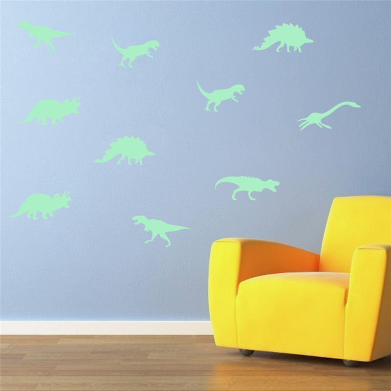 9Pcs Glow In The Dark Dinosaurs Toys Stickers Ceiling Decal Baby Kid Room 4