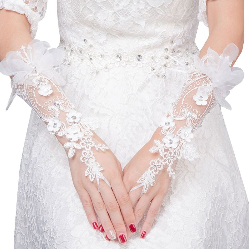 New Charming Bridal Lace Floral Gloves Wedding Dress Accessories Simple Hook Finger Long Glove