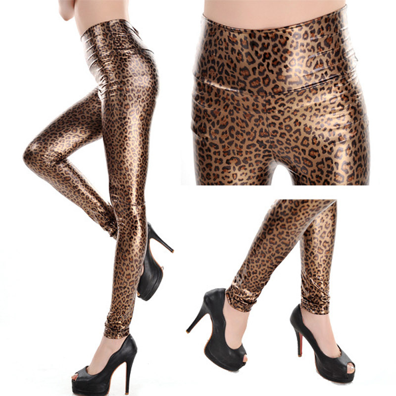 New fashion  high waist faux leather pants bottoming leggings women leggings leopard print female leggins G1235