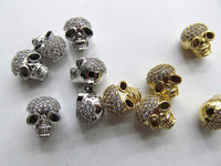 12pcs 9x13mm Cubic Zirconia Micro Pave Brass Connector skull skeleton silver gold gunmetal Mix Charm Finding