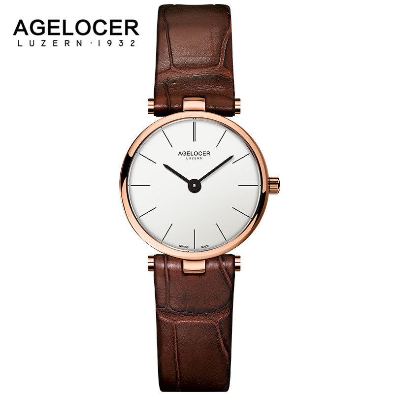 2017 Luxury Brand AGELOCER Switzerland Watches Women Leather Ultra Slim Gold Quartz-watch Female Clock Relogio Feminino Montre G 2017 luxury brand gimto sport watches women leather ultra slim gold quartz watch male female clock relogio feminino montre gift