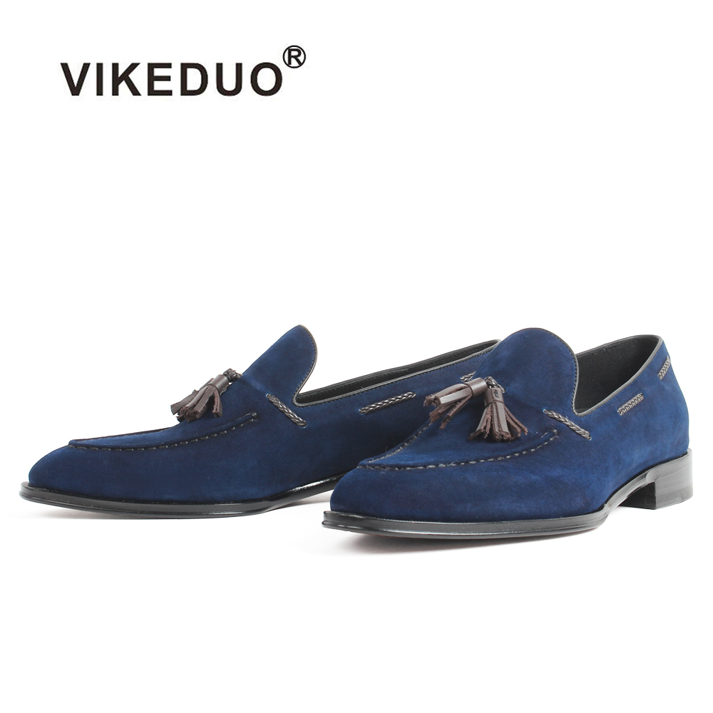 VIKEDUO 2018 Casual Loafer Shoes Kid Suede Blue Tassel Handmade Shoes Slip On Flat Men's Footwear Patina Bespoke Zapatos Hombre