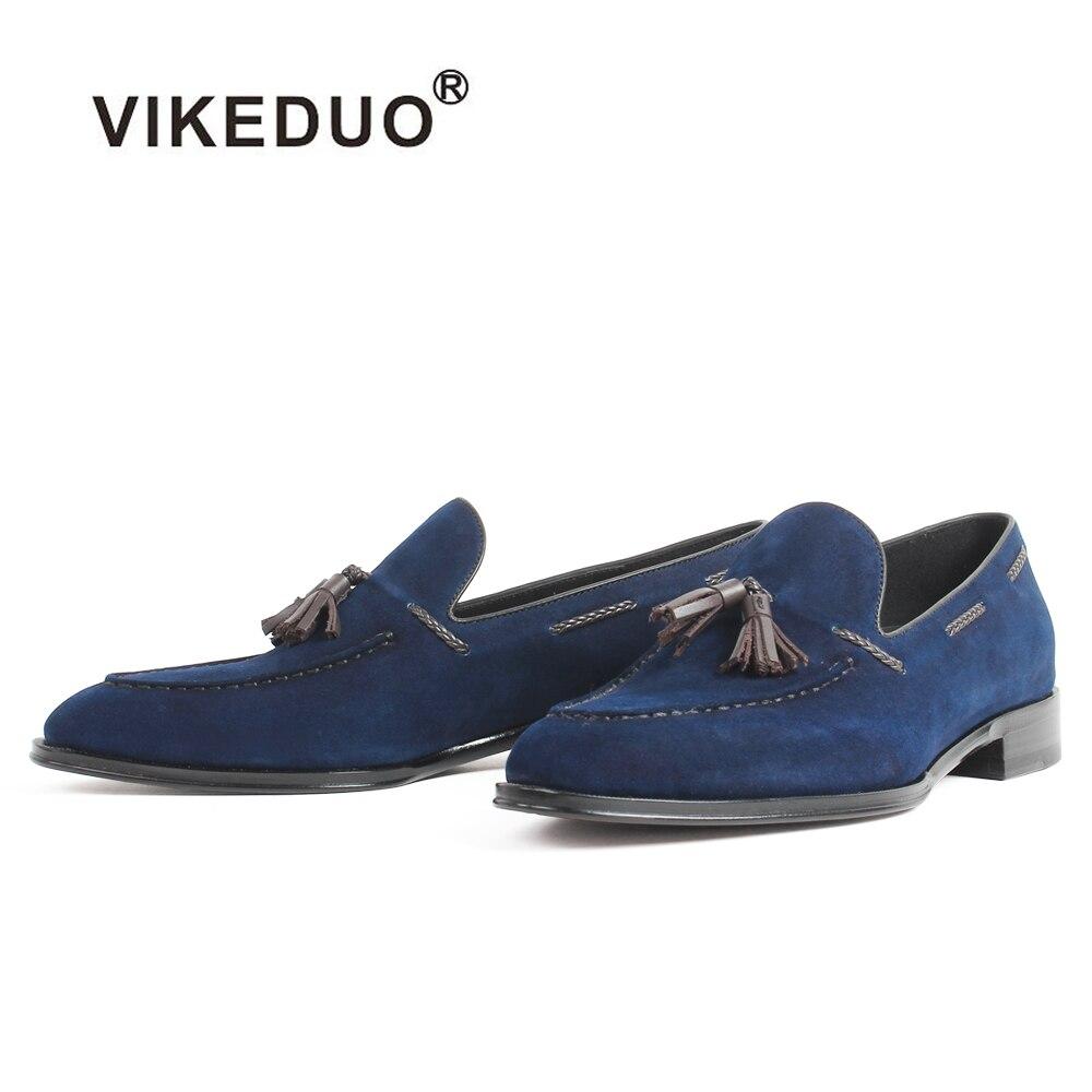 VIKEDUO 2019 mocassins décontractés Enfant En Daim Bleu Gland Chaussures Faites À La Main sans lacet Plat chaussures hommes Patine Sur Mesure Zapatos Hombre