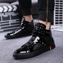 אנגליה סגנון mens מזדמן לנשימה פטנט עור נעלי היפ הופ אוקספורד שטוח פלטפורמת אופנוע קרסול מגפי zapatos זכר