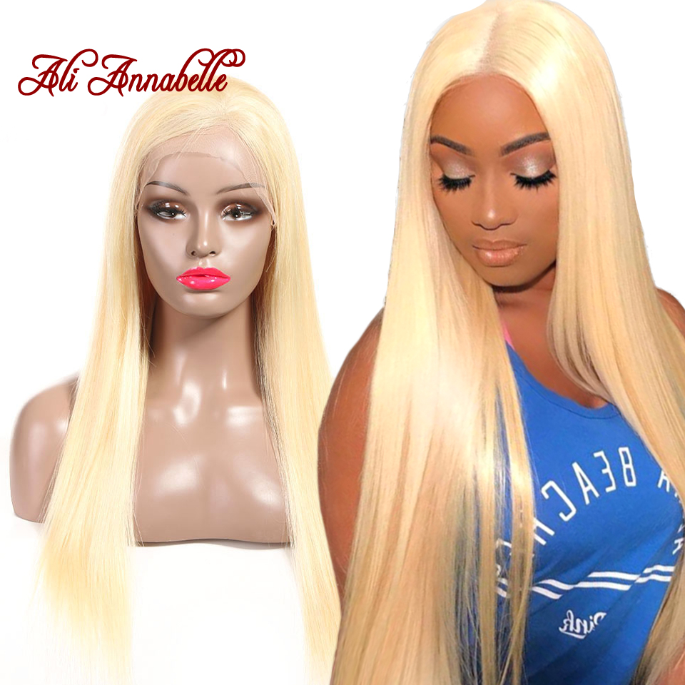 ALI ANNABELLE 613 Brazilian Straight Lace Front Human Hair Wigs 13*6 Pre Plucked With Baby Hair 150% Density Blonde Remy Hair image
