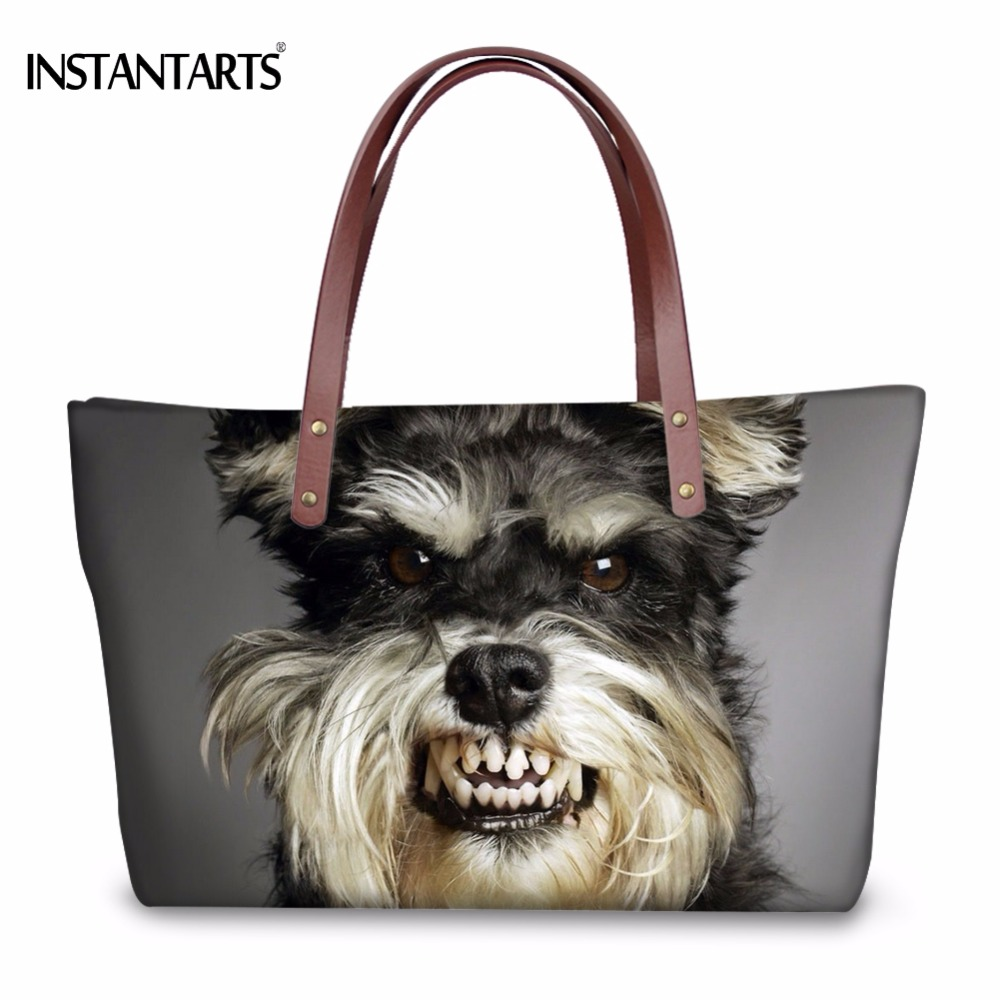 INSTANTARTS Cool 3D Dog Schnauzer Printed Women Large Shoulder Bags for Shopping Brand Design Tote Bags Stylish Female Handbags