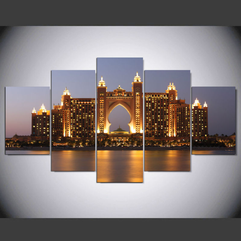 Artcozy 5 Piece Canvas Art Painting Spray Printings Dubai Atlantis Hotel Building Wall Ptures Home Decoration Paint IM-257