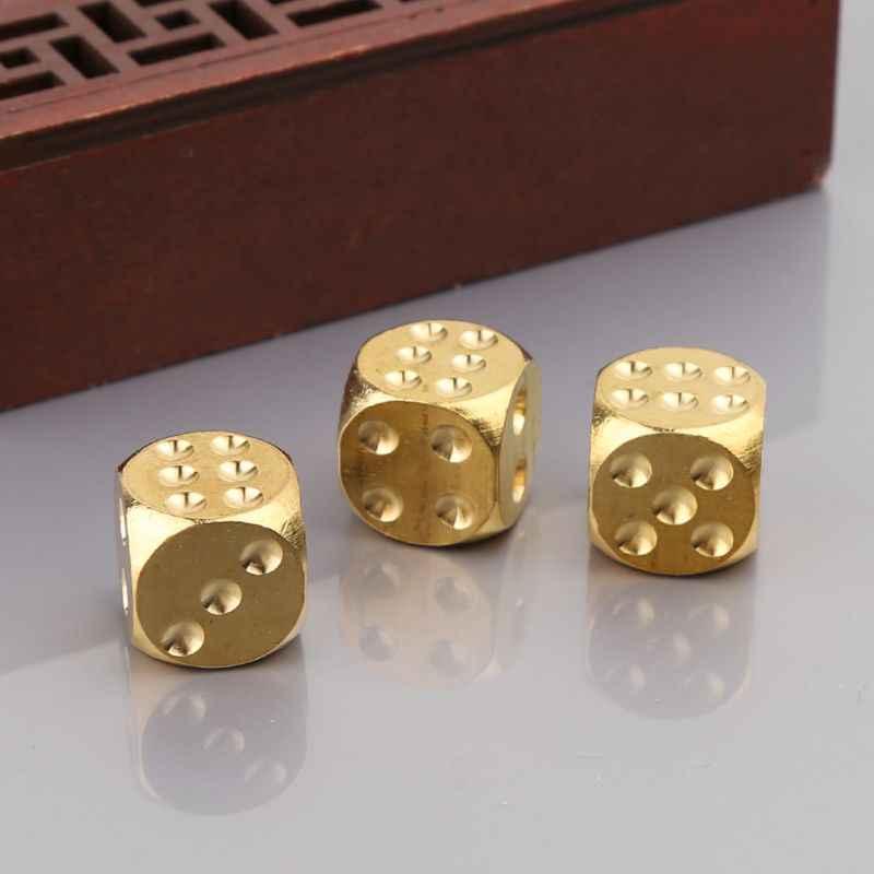 Bronze Dices Poliédrico Club Bar Dice Jogando Jogo de Ferramenta de Metal Sólido 15X15X15mm Dices