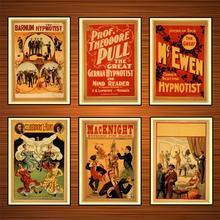 Pósteres Vintage de circo, carteles hipnotistas de hipnotismo Kraft, pósteres clásicos de lona, pinturas de pared, pegatinas para decoración del hogar, regalo