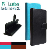 Hot Sell Original PU Leather Flip Cover Case For Motorola Moto RAZR D3 XT919 XT920 Cell