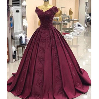 Custom Made Plus Size Gown Evening Dresses Long Elegant V neck Beaded Appliques Satin Ball Gown Formal Party Dress Vintage