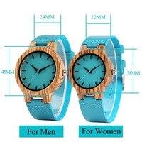 Reloj de madera pulso de cuero azul - Hombre/Mujer 3