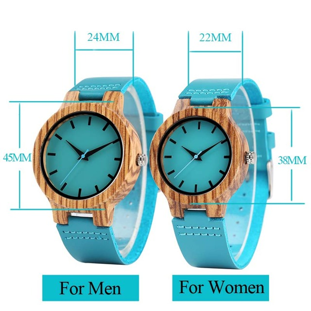 Luxury Royal Blue Wood Watch Top Quartz Wristwatch 100% Natural Bamboo Clock Casual Leather Valentine's Day Gifts for Men Women 3