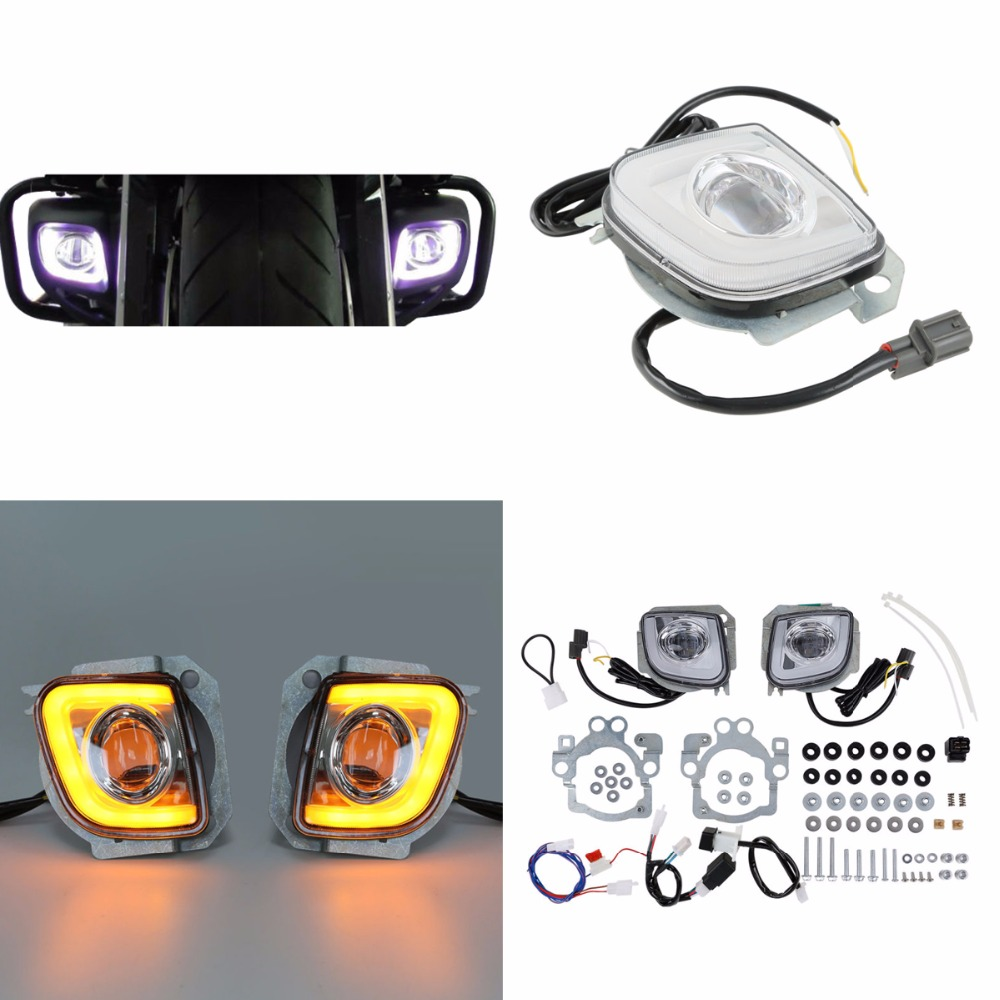 Motorcycle Motorbike LED Turn Signal Driving Fog Light For Honda Goldwing GL1800 12-17 F6B Valkyrie GL18RFL 2012-2016 13 14 15 air intake accent grilles led chrome case for honda f6b goldwing gl1800 goldwing 2012 2016