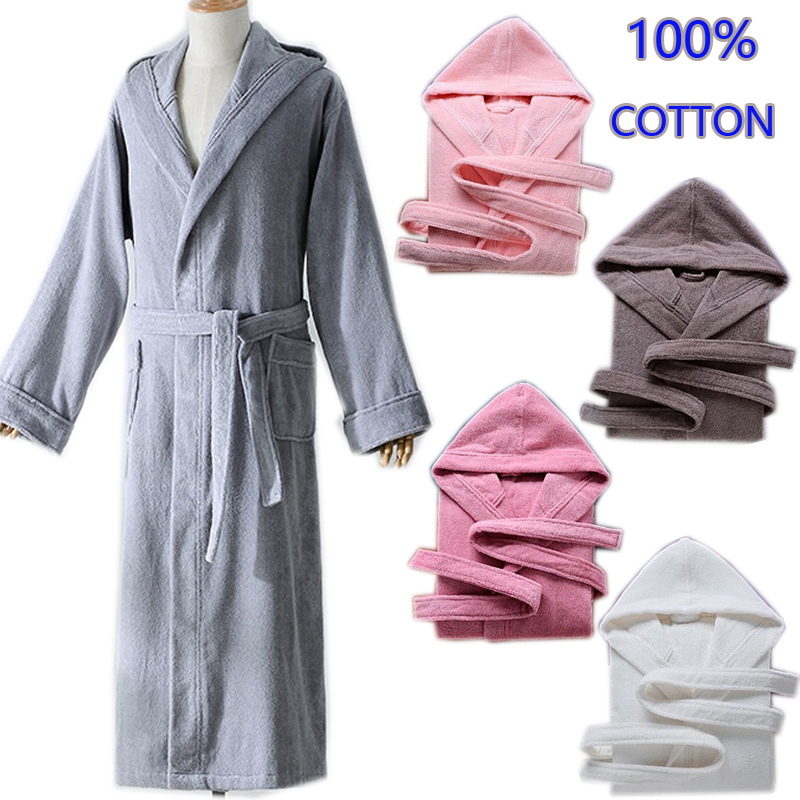 Autumn Winter Thick Pure Cotton Plain Color Bathrobes Sleepwear Robes Unisex Long-sleeve Absorbent Terry Bathrobe Hooded Pijamas
