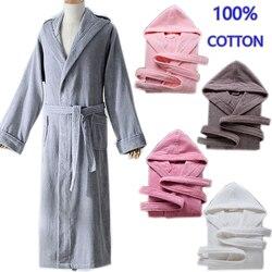 Herbst winter Dicke reine baumwolle plain farbe bademäntel nachtwäsche roben Unisex lange-sleeve saugfähigen terry bademantel mit kapuze pijamas