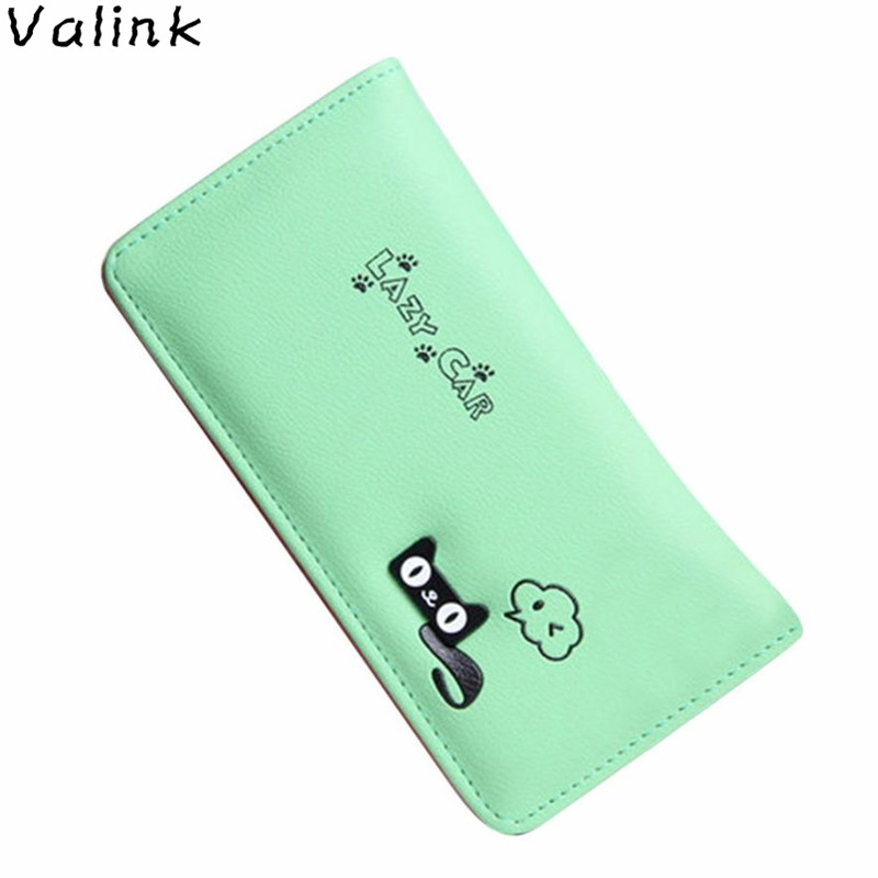 Valink 2018 New Cat Letters Hasp Coin Purse Women Long Wallet Card Holders Clutch Wallet Women Purses Designer Carteira Feminina 2017 new ladies purses in europe and america long wallet female cards holders cartoon cat pu wallet coin purses girl