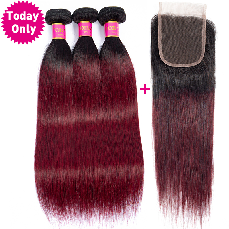 TODAY ONLY Ombre Brazilian Hair Weave Bundles With Closure Straight Hair Bundles With Closure Remy Burgundy