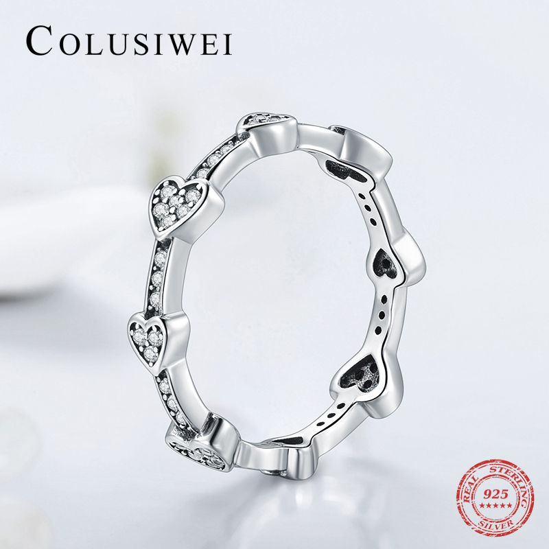 2019 Hot Charm Trendy Hearts Finger Rings 100% 925 Sterling Silver Luxury Cubic Zirconia Ring For Women Wedding Female Jewelry