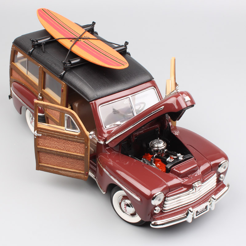1 18 big vintage 1948 Ford woodie Woody metal model SURFBOARD Ford Super De Luxe Diecasts