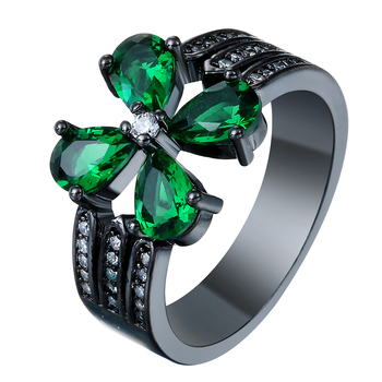 Black Gold Color Green CZ Stone Ring