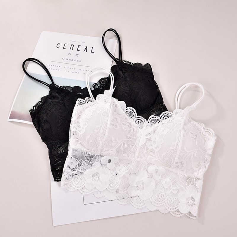 אופנה חדשה שחור לבן תחרה למעלה נשים ללא שרוולים Vest גופיות נשים תחתוני Cami למעלה פרחוני Sheer קצר משי חולצה