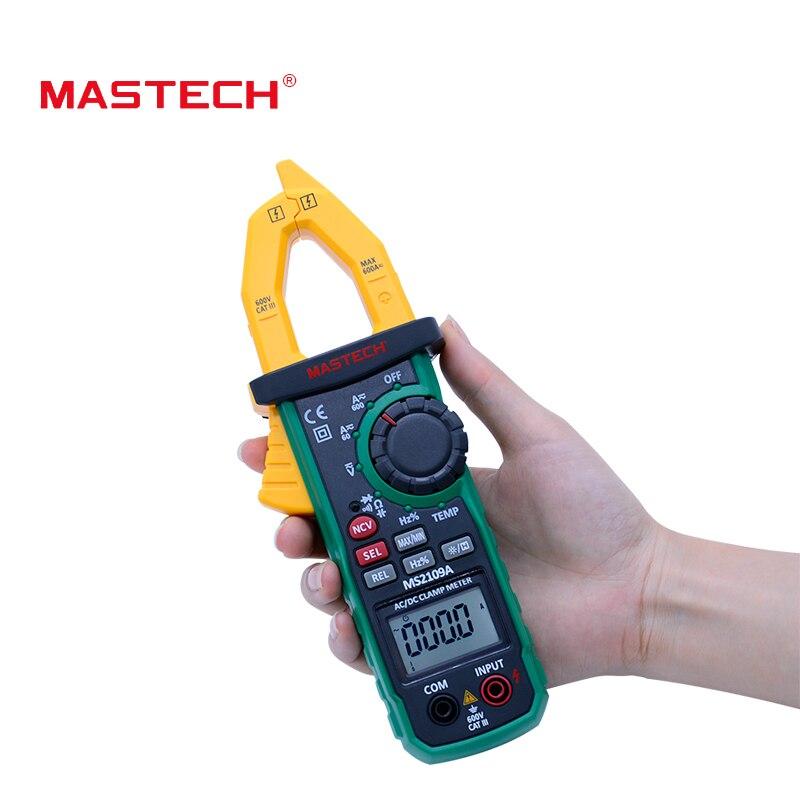 Цифровой клещи MASTECH ms2109a Авто Диапазон AC DC 600a мультиметр Вольт Ампер Ом Гц темп емкость Тесты er НТС тесты