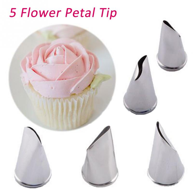 5Pcs//Set Flower Rose Icing Piping Nozzles Cream Petal Pastry Cakes Decor Tips Vi