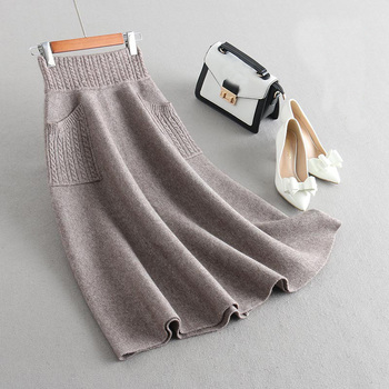 Sherhure 2019 High Waist Women Winter Wool Knitting Long Skirts Faldas Jupe Femme Saia Vintage Women Black Skirt With Pocket 2