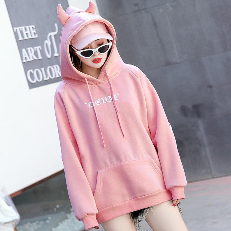 Ulzzang K Pop Street Wings Embroidery Hoodies Women