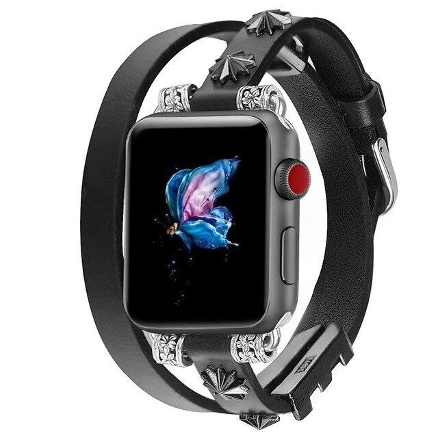 Кожаный ремешок петля для Apple Watch группа 42 мм 38 iwatch серии 4 3 2 1 44 40 для женщин мужчин регулируемый браслет наручные часы