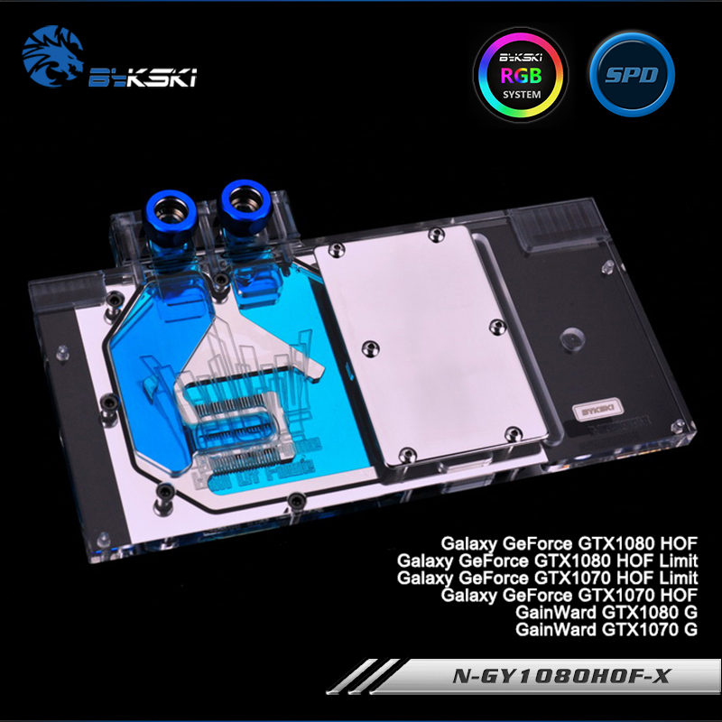 Bykski N-GY1080HOF-X Full Cover Graphics Card WaterCooling Block RGB/RBW/ARUA for Galaxy GTX1080/1070 HOF, GainWard GTX1080/1070 computador cooling fan replacement for msi twin frozr ii r7770 hd 7770 n460 n560 gtx graphics video card fans pld08010s12hh