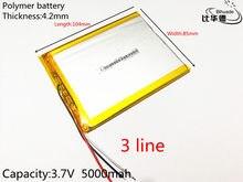 Bateria de polímero para tablet, frete grátis 1 pçs/lote 3 linha 4285104 capacidade 5000 mah para tablet pc 7 polegadas 8 polegadas 9 polegada polegada