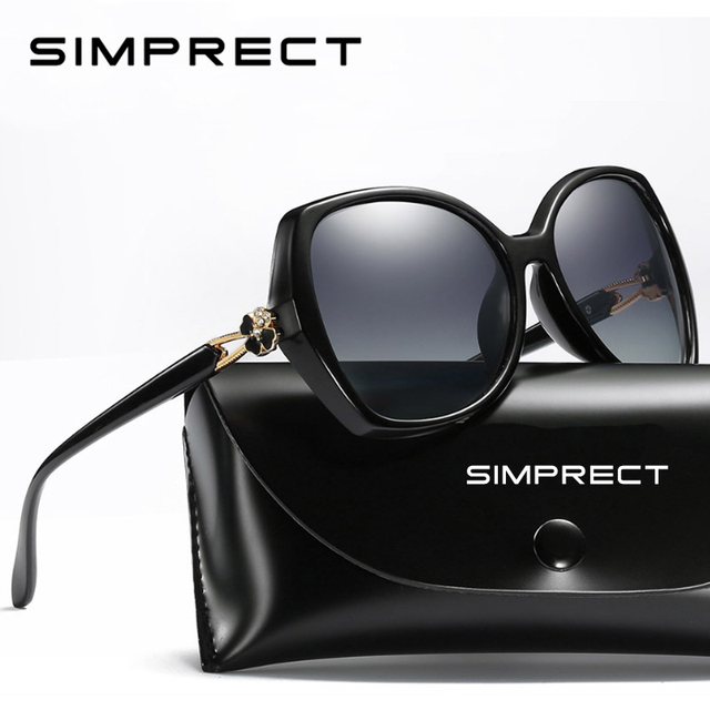 SIMPRECT Polarized Sunglasses Women 2020 Oversized Sunglasses Retro Square Sun Glasses Luxury Brand Designer Shades For Women
