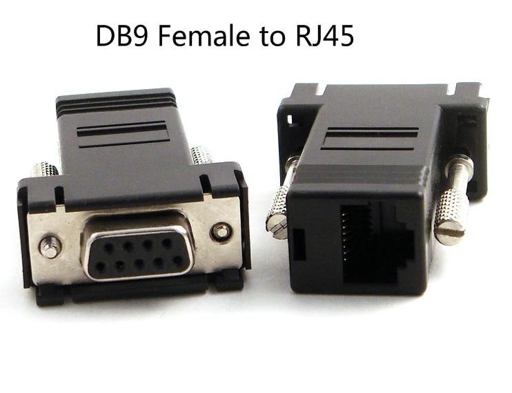 bilder für Freies Verschiffen RS232 Db9 zu RJ45 buchse Adapter, 100 Teile/los