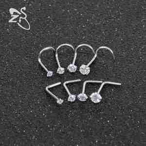 ЦИРКОНИЕВЫЕ носовые кольца ZS, 8 шт/УП., хирургические Стальные Шпильки для носа, пирсинга Nez L, в форме кристалла