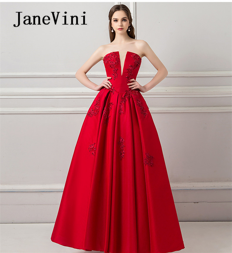 JaneVini Red Beading Long   Bridesmaid     Dresses   for Weddings Backless Lace Appliques Floor Length Formal Gowns Maid Of Honor   Dress