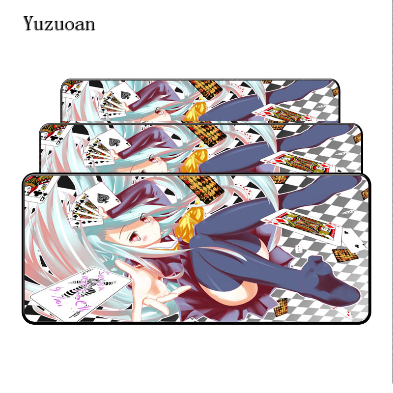 Yuzuoan No Game No Life Free Shipping keyboard Desk Gaming Mouse pad 900X400X4mm Large Lock Edges Soft/Rubber As Boy Girl Gift