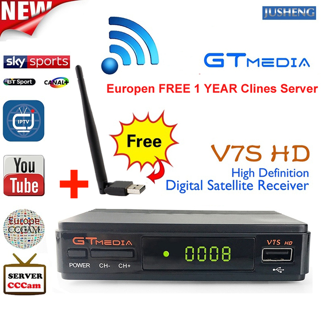 US $36 62 | Free CCcam 1 year V7S HD DVB S2 Satellite Receiver with USB  WIFI 1080P HD Receptor Support Cccam PowerVu YouTube Biss key PK -in  Satellite