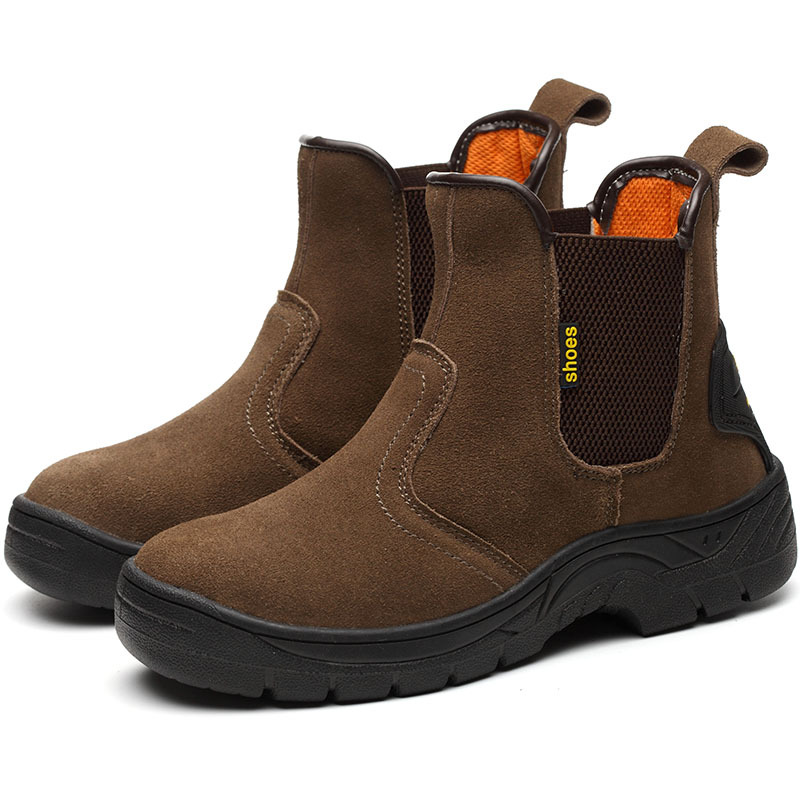 Masorini Breathable Outdoor Steel Toe Cow Suede Leather Work Boots Shoes Men Anti-slip Puncture Proof Safety Shoes Boots WW-811