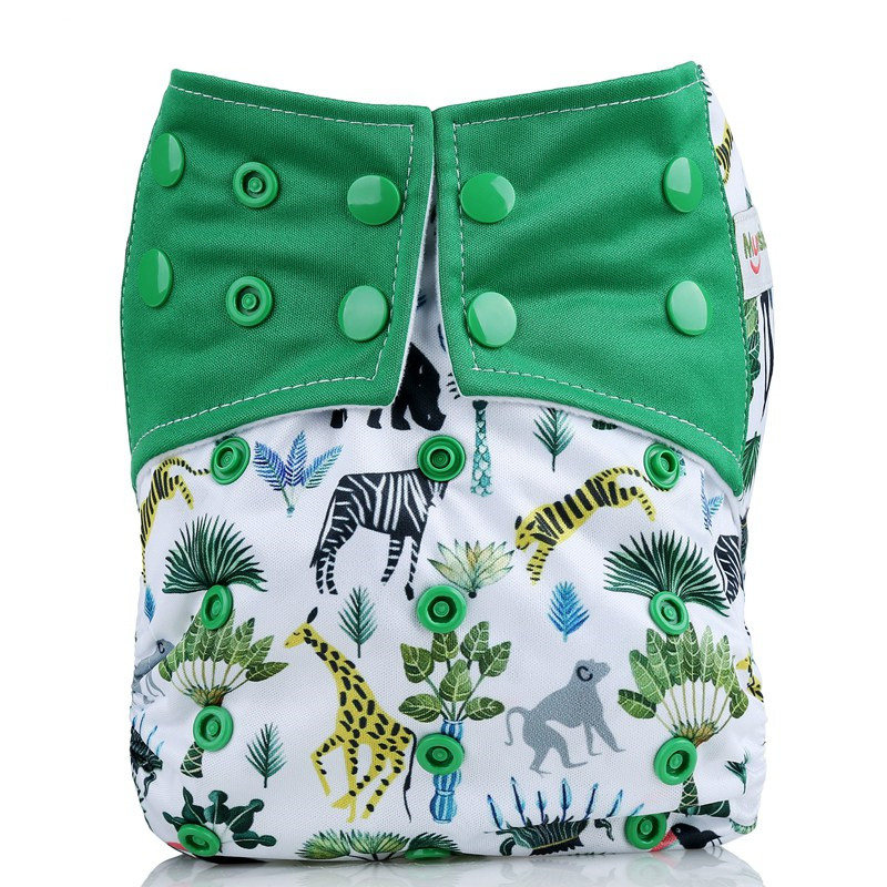 [Mumsbest] Baby Cloth Diaper Pocket Cartoon Animals Cloth Diapers Cover Babies Washable Waterproof Cloth Nappy Suit 3-13kg baby [mumsbest] 3pcs washable waterproof baby nappy pul suit 3 15kgs adjustable boy diaper covers car print design cloth diaper cover